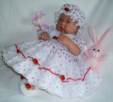 Strawberry Dress + Mop Cap Will Fit 0-3 Months Baby