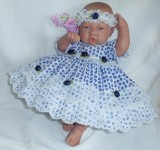 Navy Floral Dress + Head Band Will Fit 0-3 Months Baby
