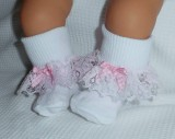 Pink Lace Trimmed Frilly Socks